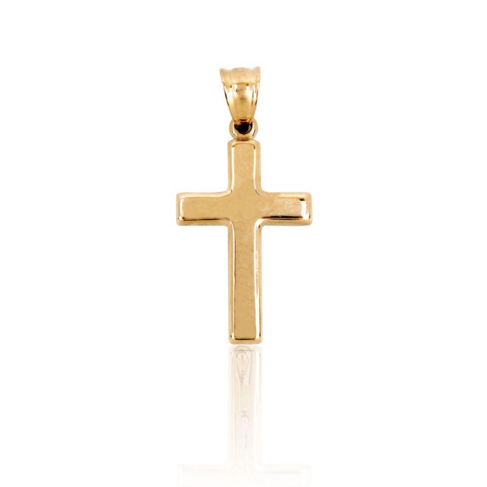 Cruz Oro 9k bicolor cuadrada