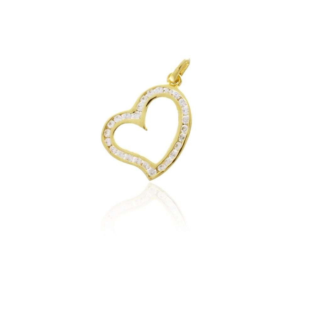 Colgante Oro9 corazón circonitas Roselin