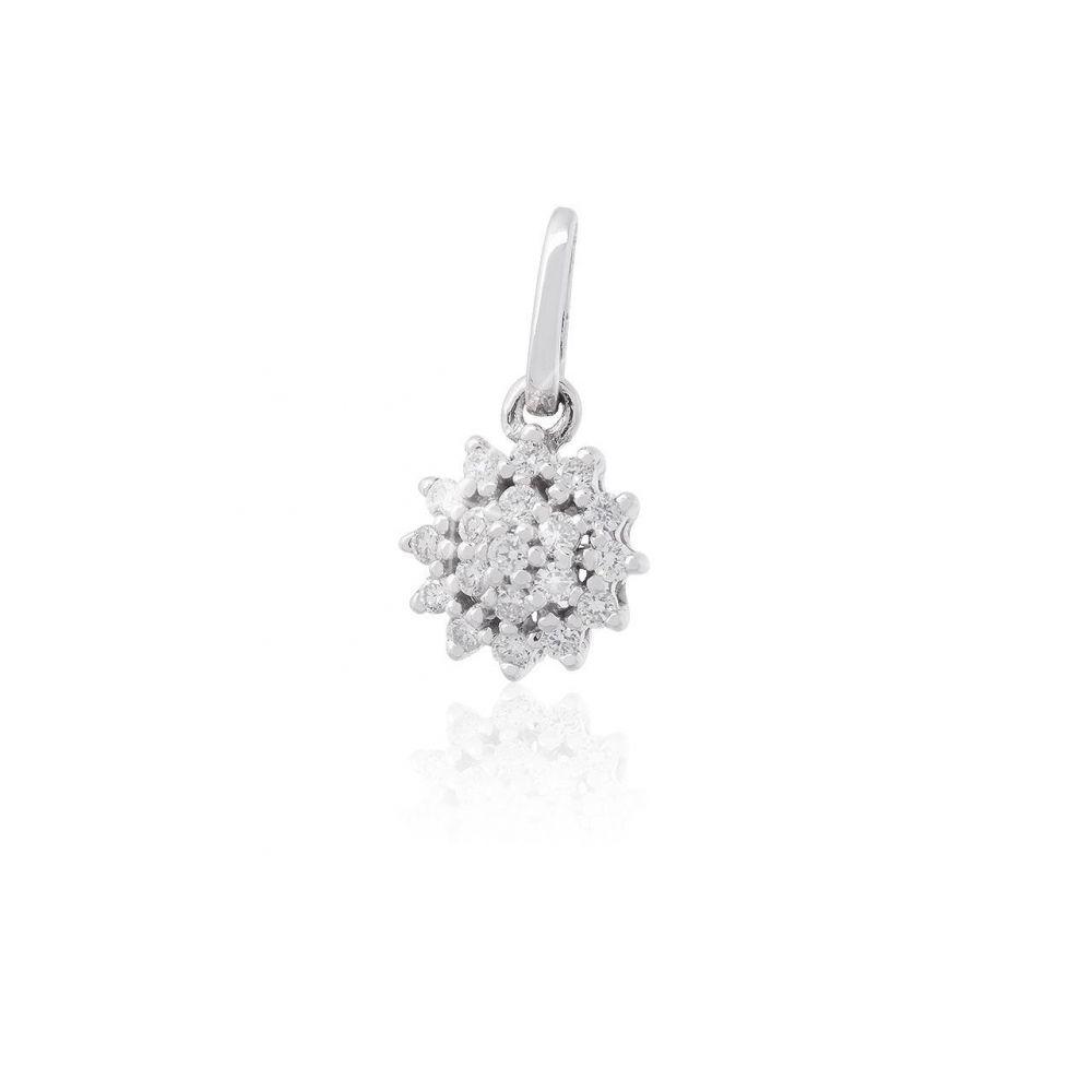 Colgante Oro blanco 9kts roseta diamantes