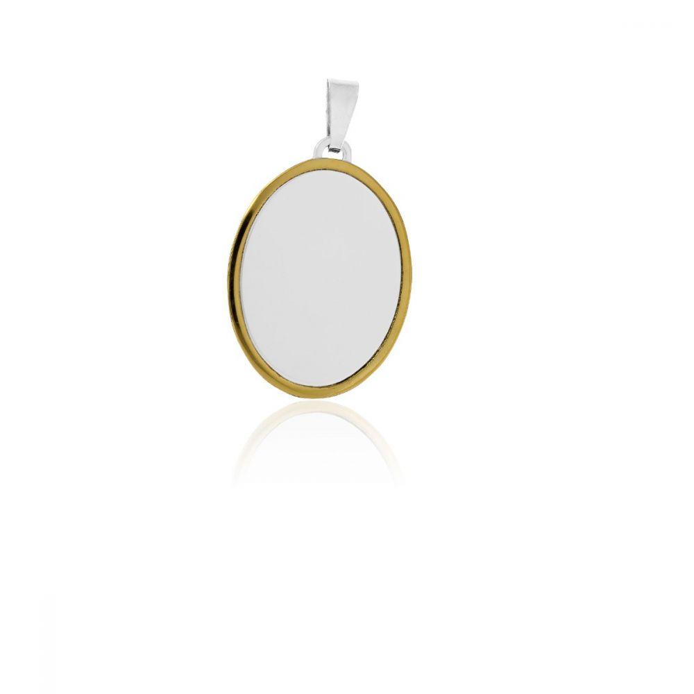 Colgante chapa acero y oro oval
