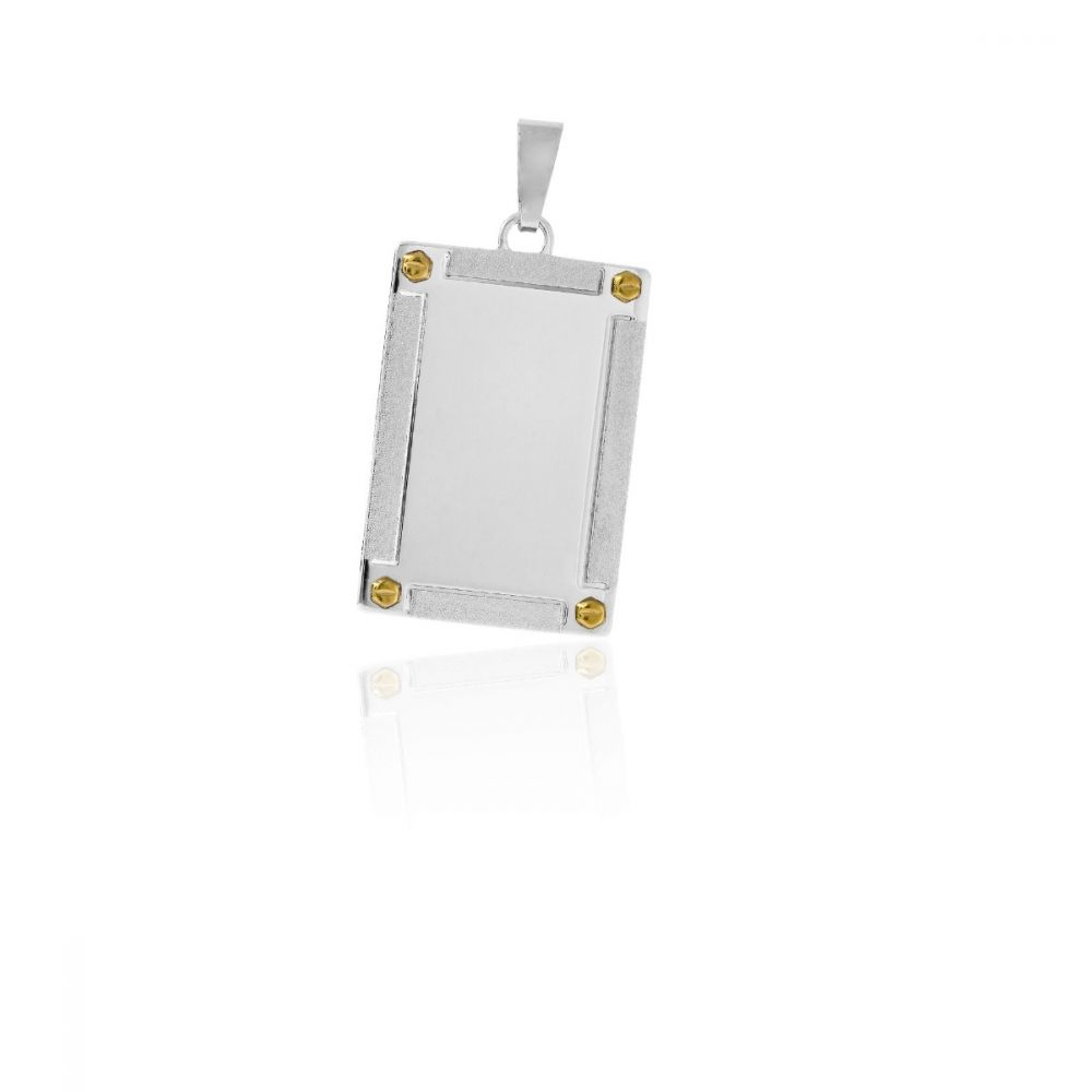 Colgante chapa acero y oro rectangular