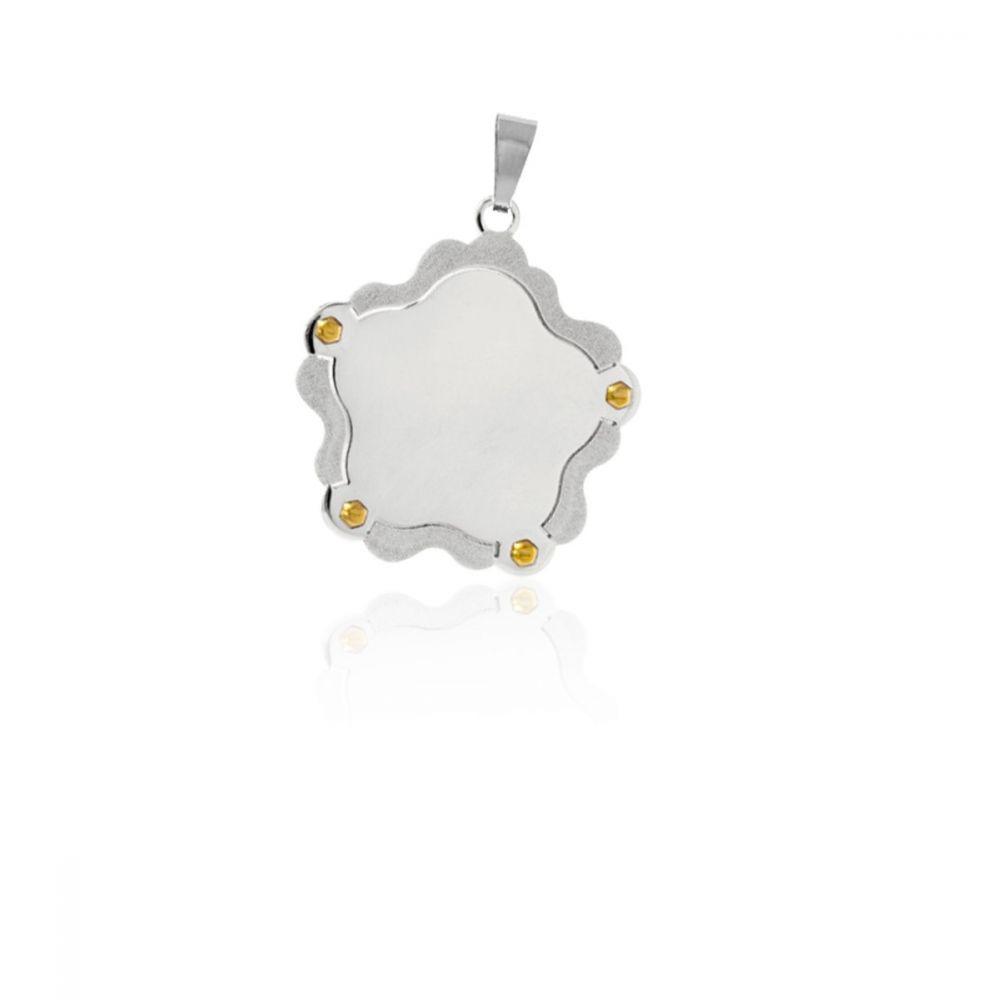 559b5a9f1490 Colgante chapa acero y oro flor