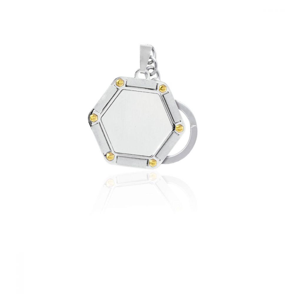 Llavero acero y oro hexagonal