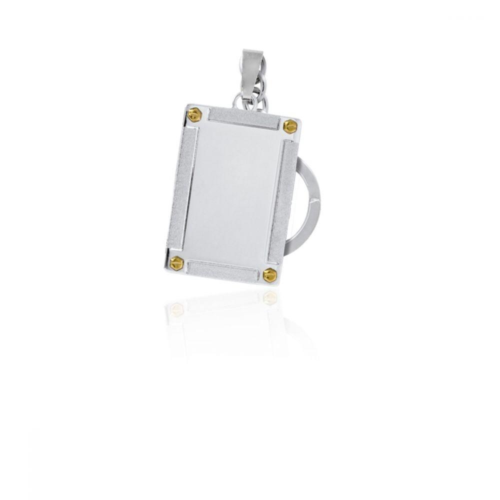 Llavero acero y oro rectangular