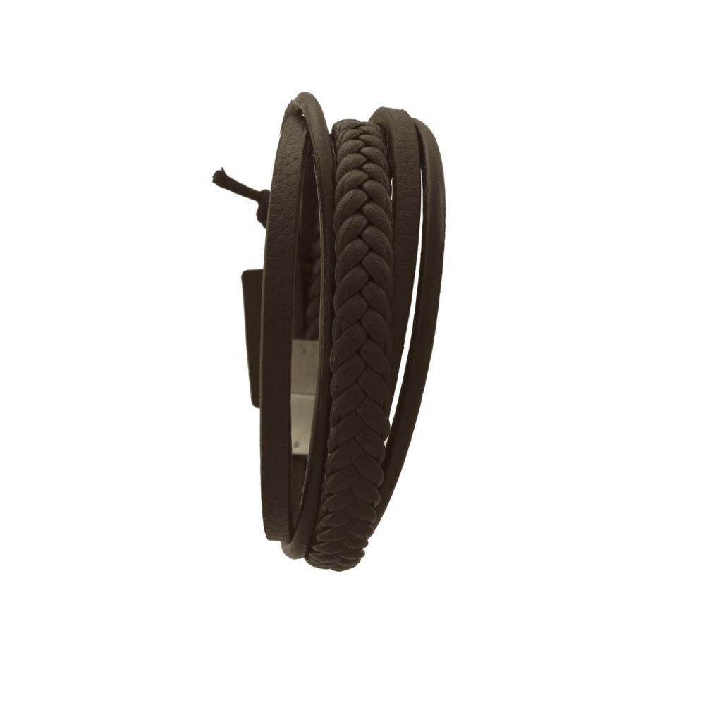 Pulsera acero y cuero RS Roslain Sport