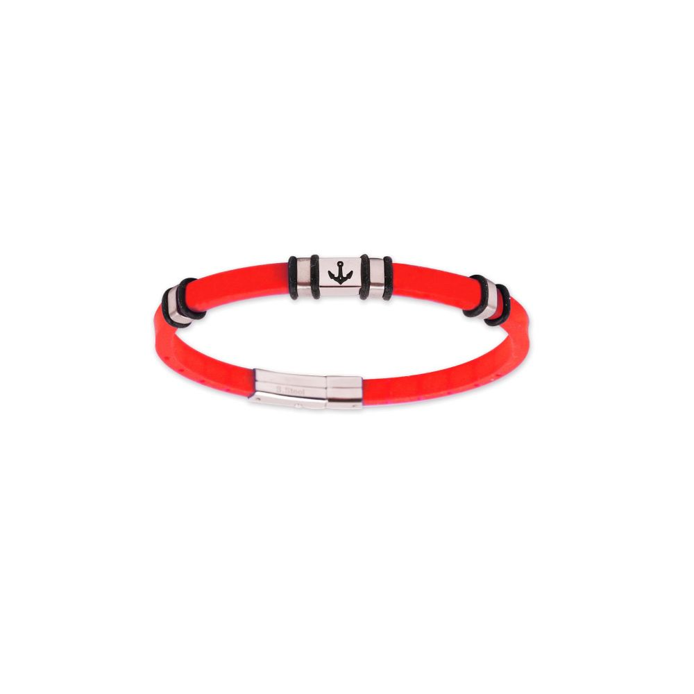 Pulsera acero y caucho rojo Rs Roslain Sport
