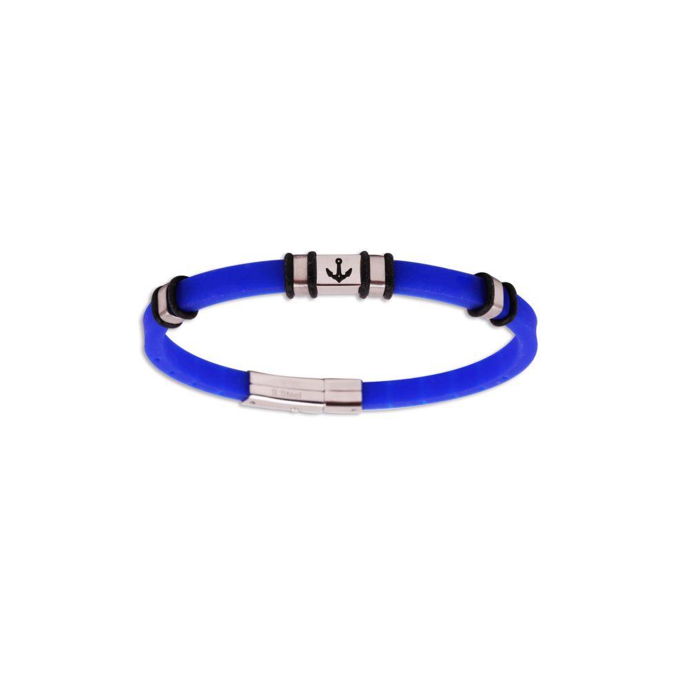 Pulsera acero y caucho azul Rs Roslain Sport