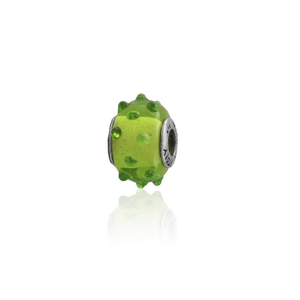 Abalorio plata piedra verde