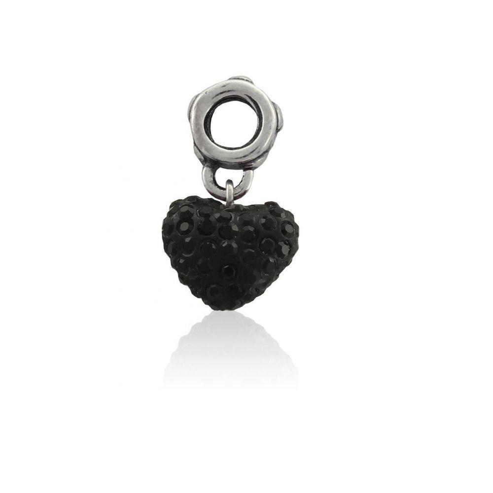 Abalorio plata corazón piedras