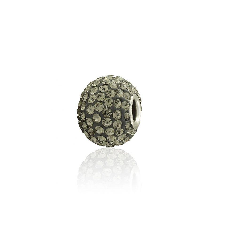 Abalorio plata piedras grises