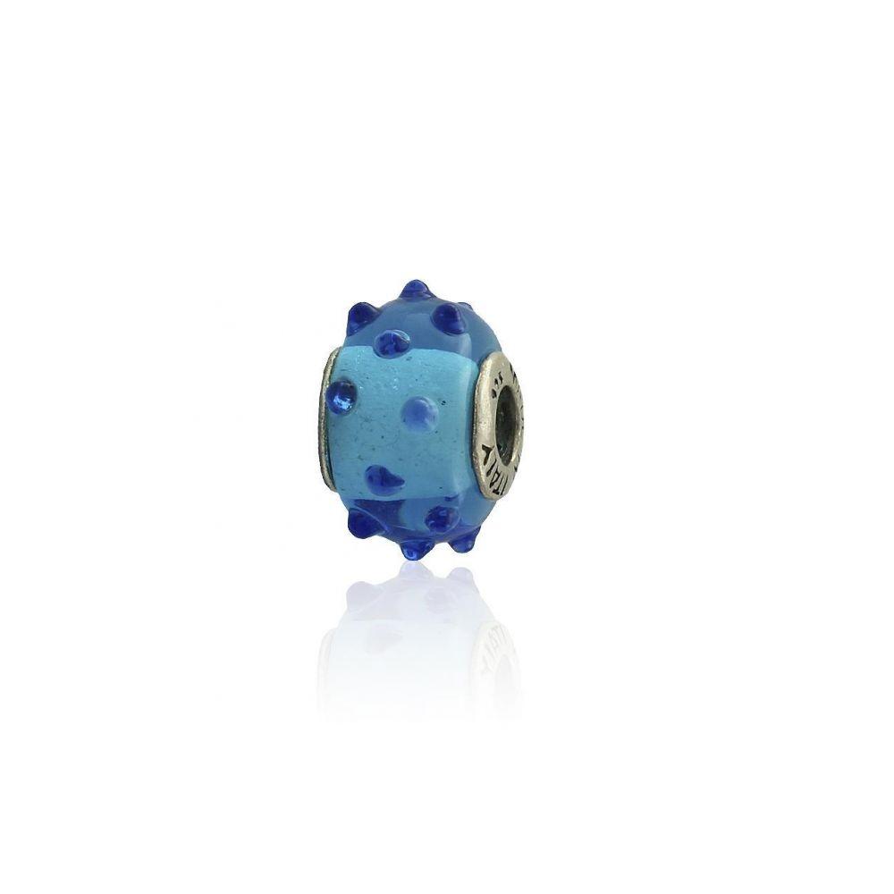 Abalorio plata piedra azul