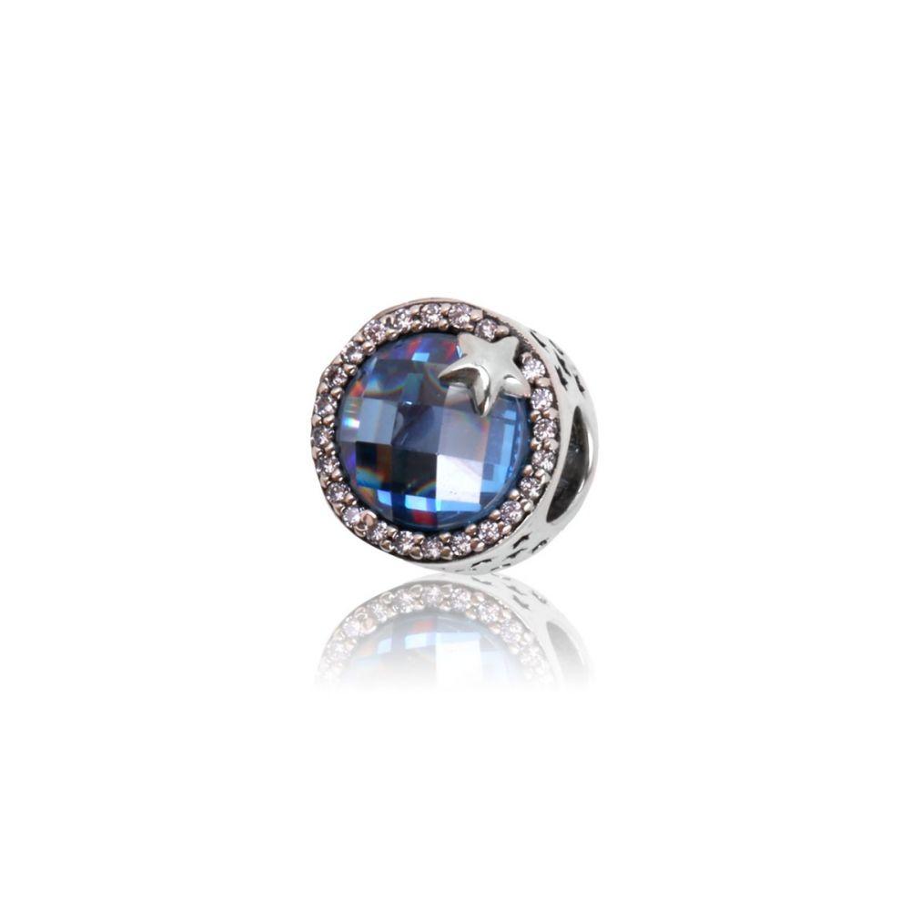 Abalorio Plata estrella azul piedras