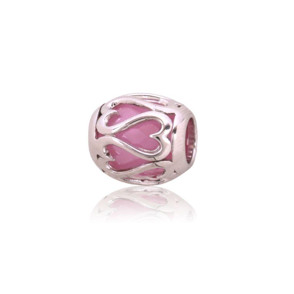 Abalorio plata rosa corazones