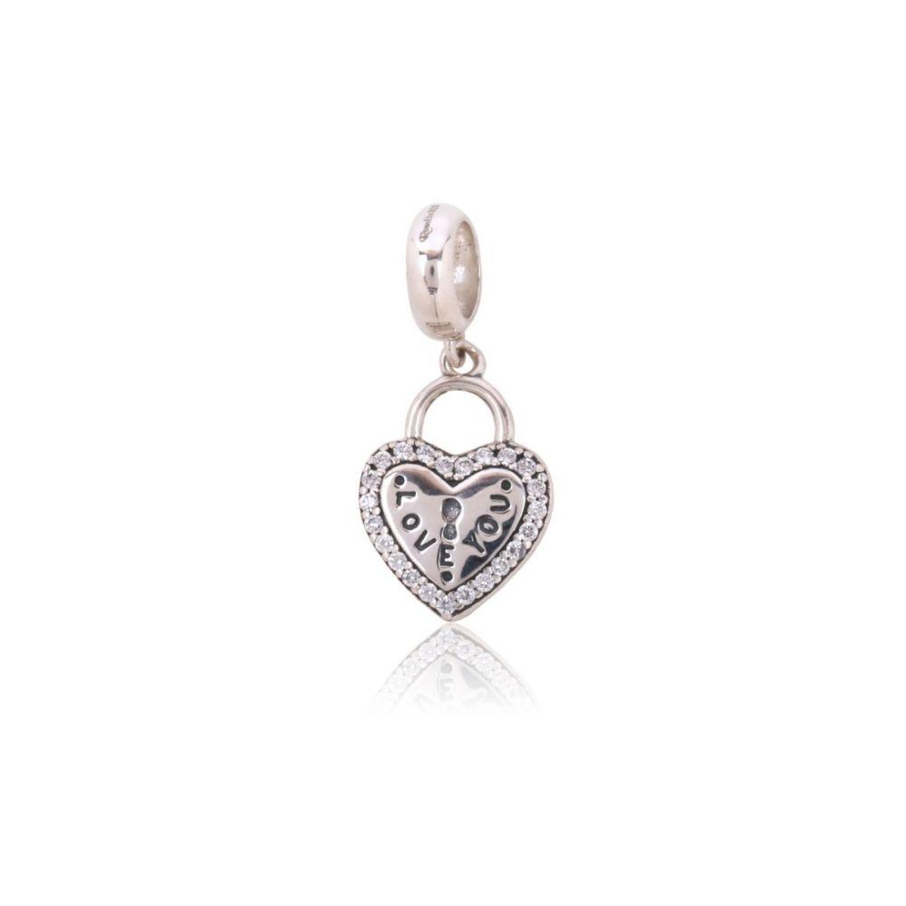 Abalorio plata corazón love you