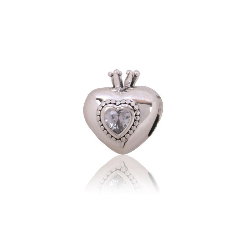 Abalorio plata corazón reina circonita