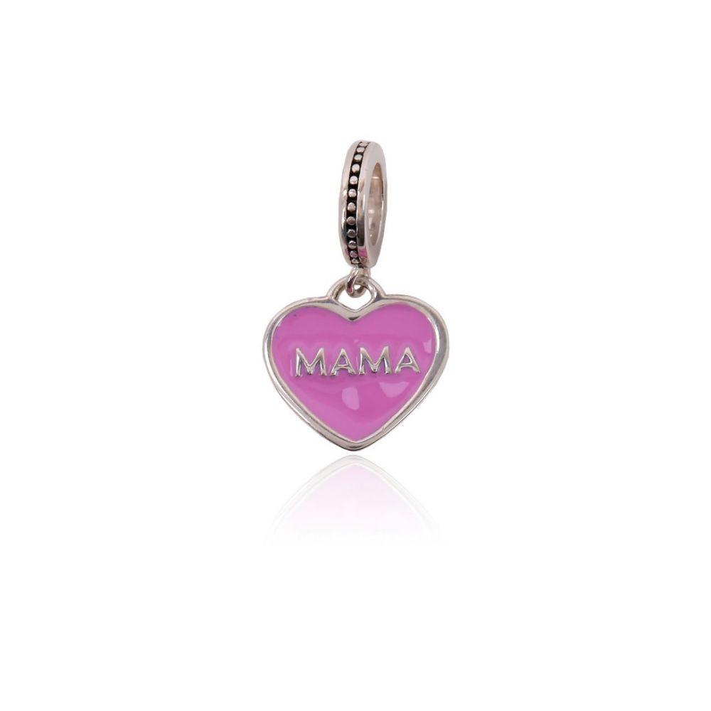 Abalorio plata corazon Mom