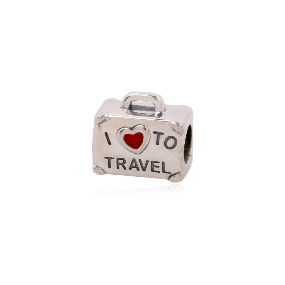 Abalorio plata maleta 'I love to travel'