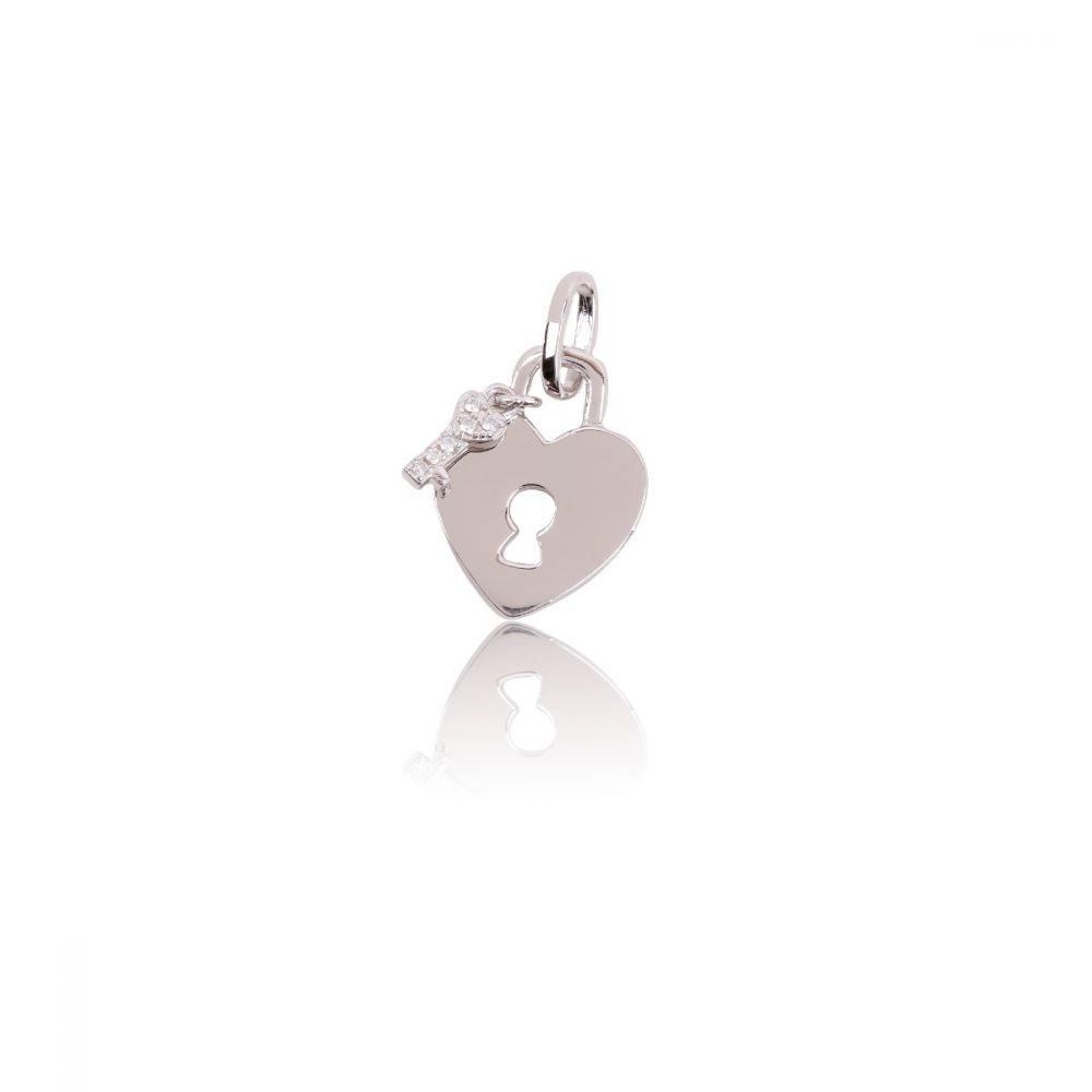Colgante Plata Corazón y llave