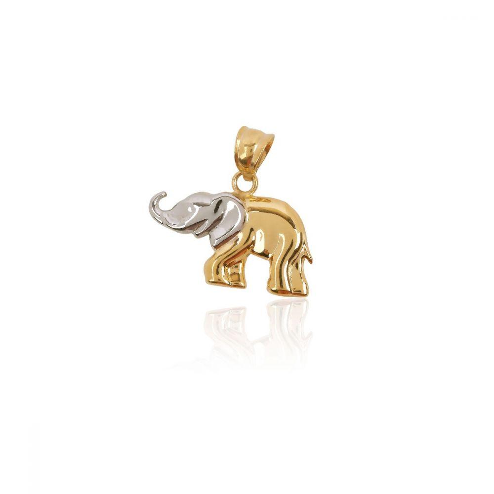 Colgante Oro y plata elefante bicolor