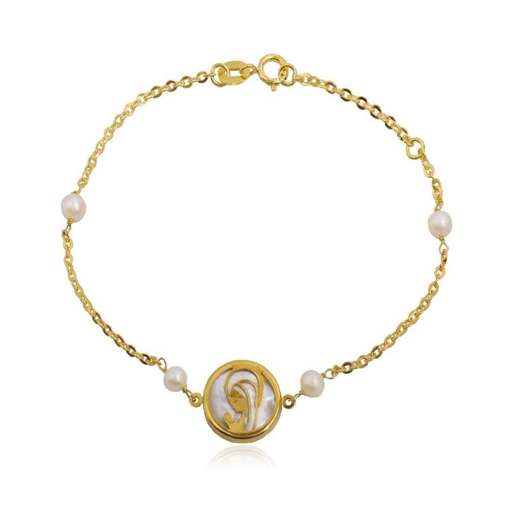 Pulsera Oro 18k Virgen nacar y perlas