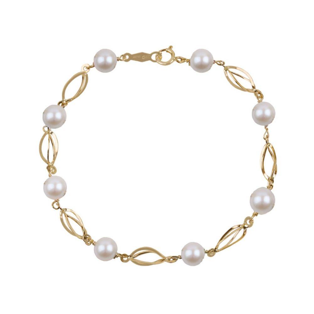 Pulsera Oro 9k perlas jaula