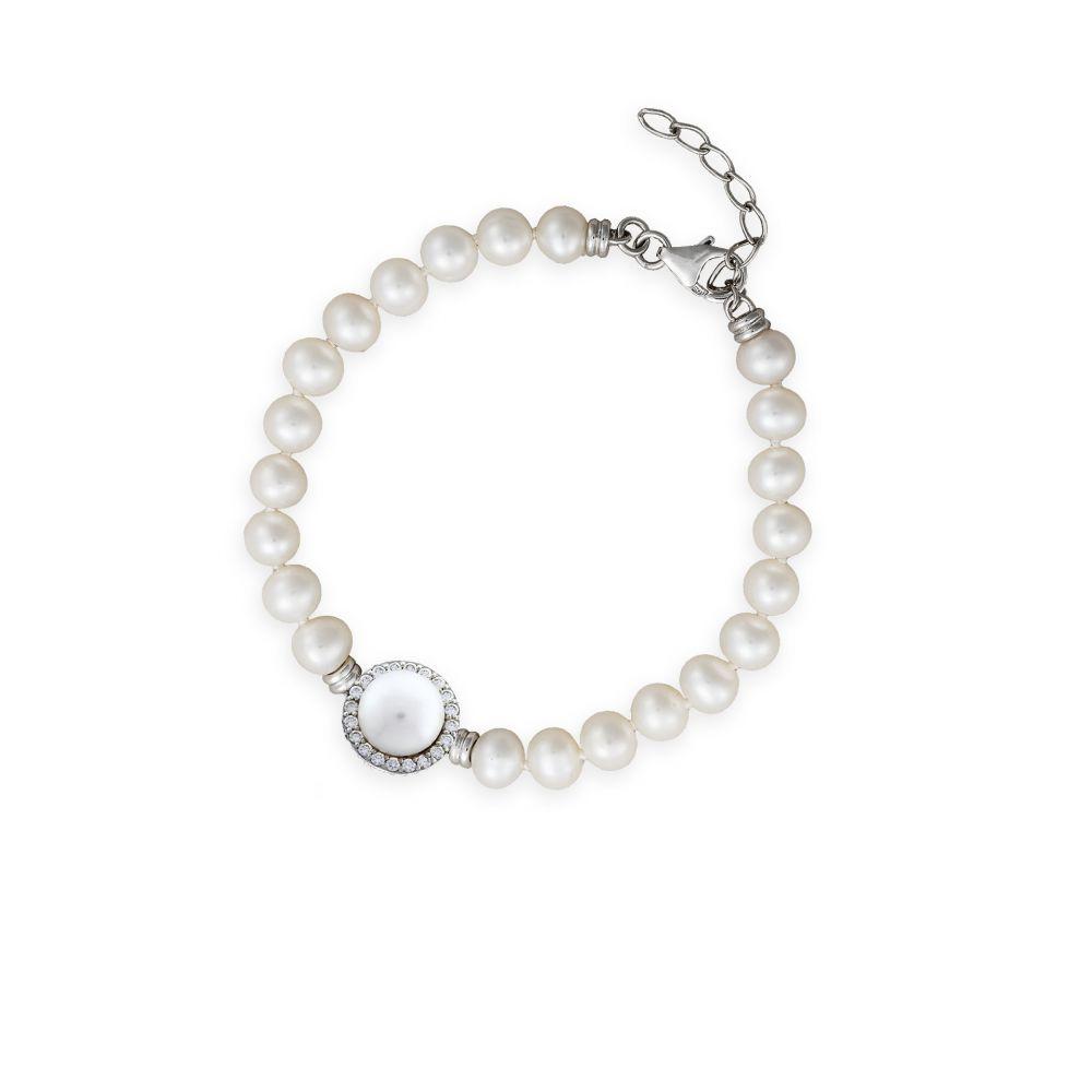 Pulsera plata perlas Luxilver