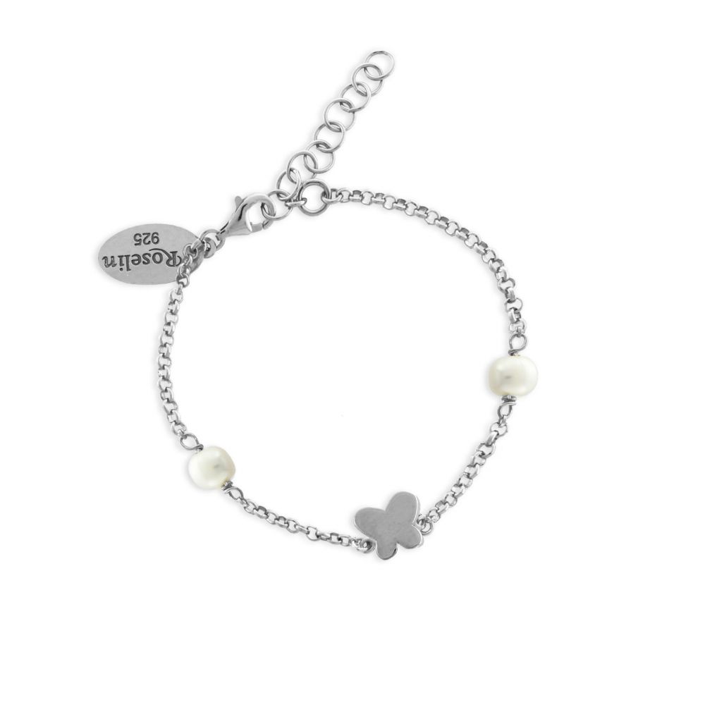 Pulsera niña plata y perla