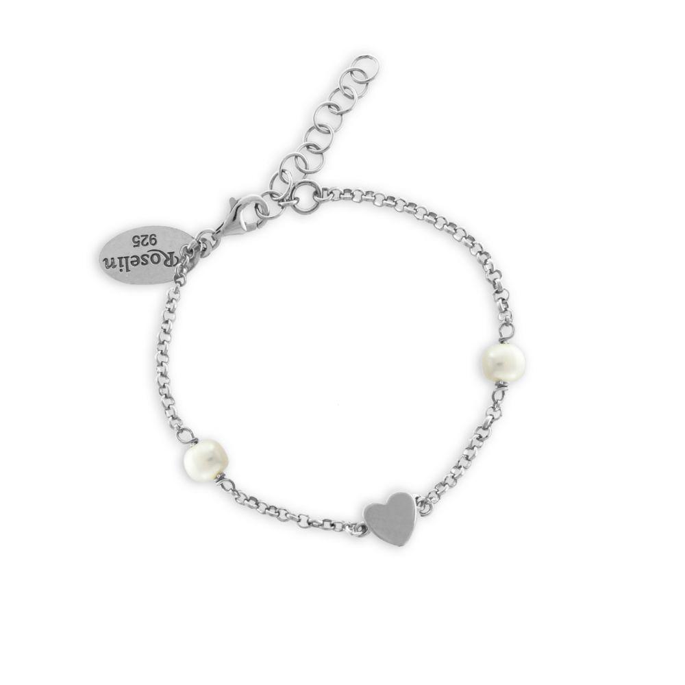 Pulsera niña plata perlas