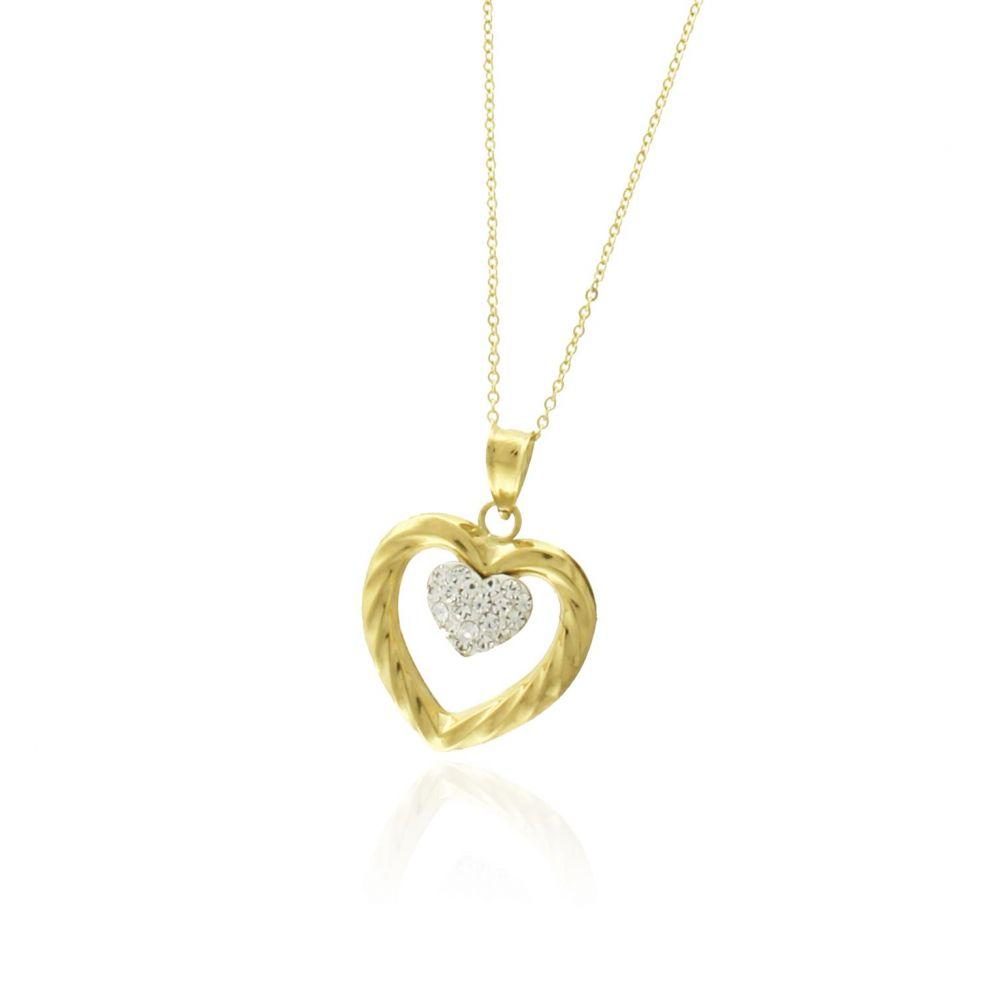 Gargantilla Oro 18 kts corazón doble circonitas Roselin