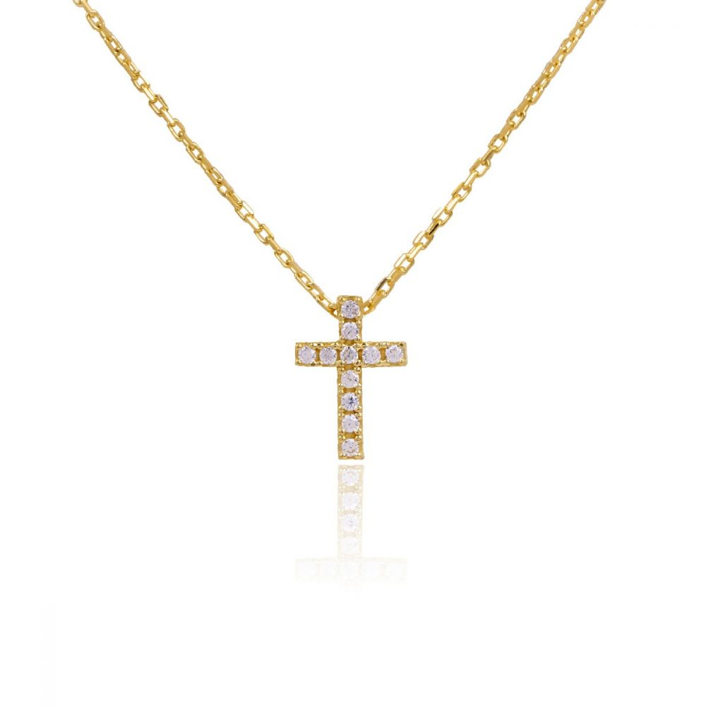 Gargantilla Oro 18k cruz circonitas