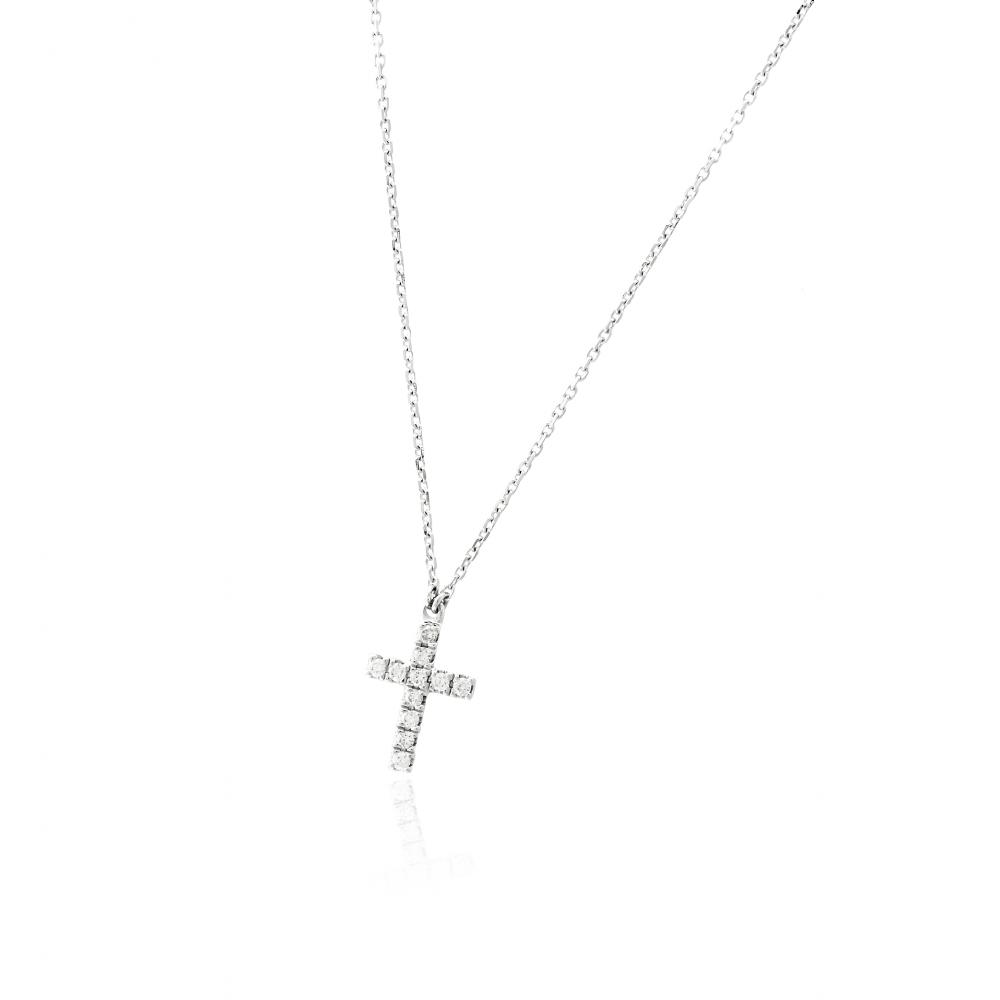 Gargantilla cruz Oro blanco 18k y diamantes