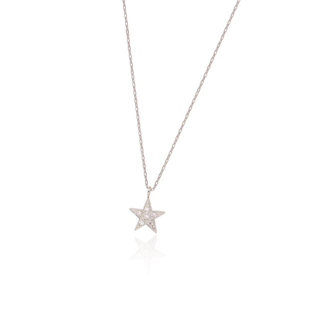 Gargantilla Oro blanco 18k y diamantes estrella