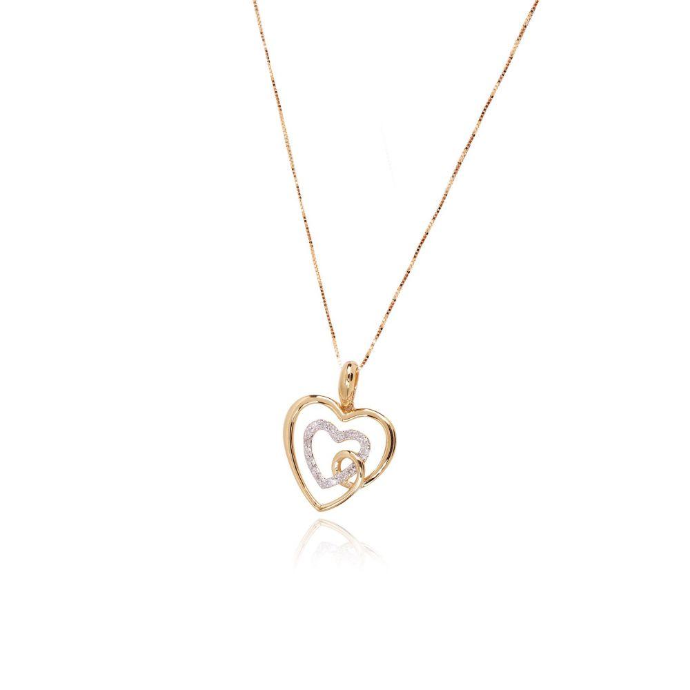 Gargantilla corazón Oro 18k bicolor y diamantes