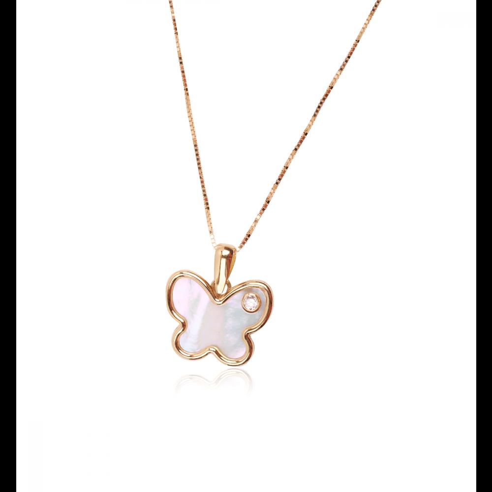 Gargantilla Oro 18k mariposa diamante