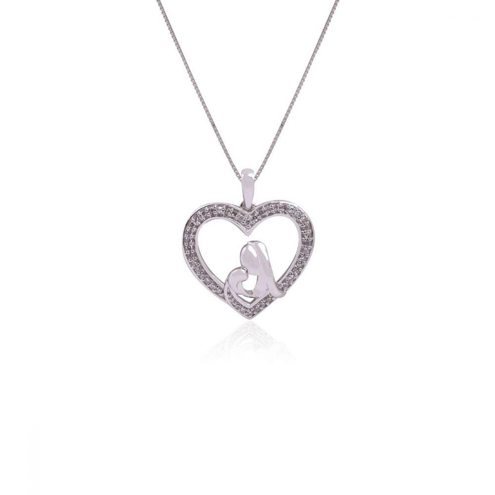 Gargantilla Oro blanco 18k y diamantes corazón mamá