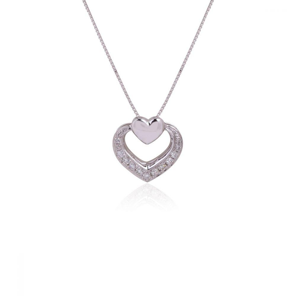 Gargantilla Oro 18k blanco y diamantes corazones