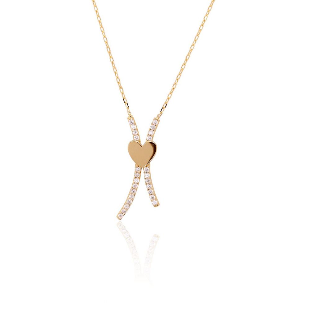 Gargantilla Oro 9k corazón circonitas