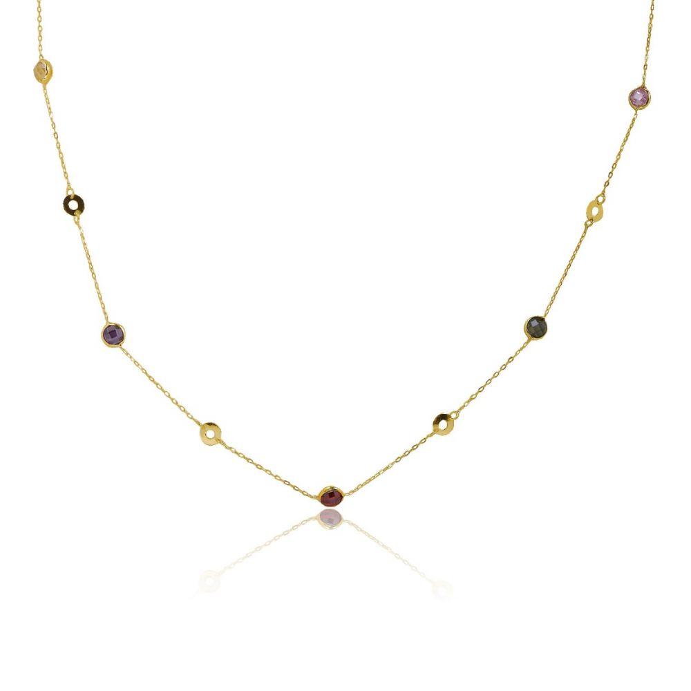 Gargantilla Oro 9k círculos y piedras colores