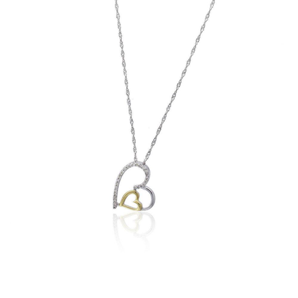 Gargantilla Oro 9k bicolor y diamantes corazón