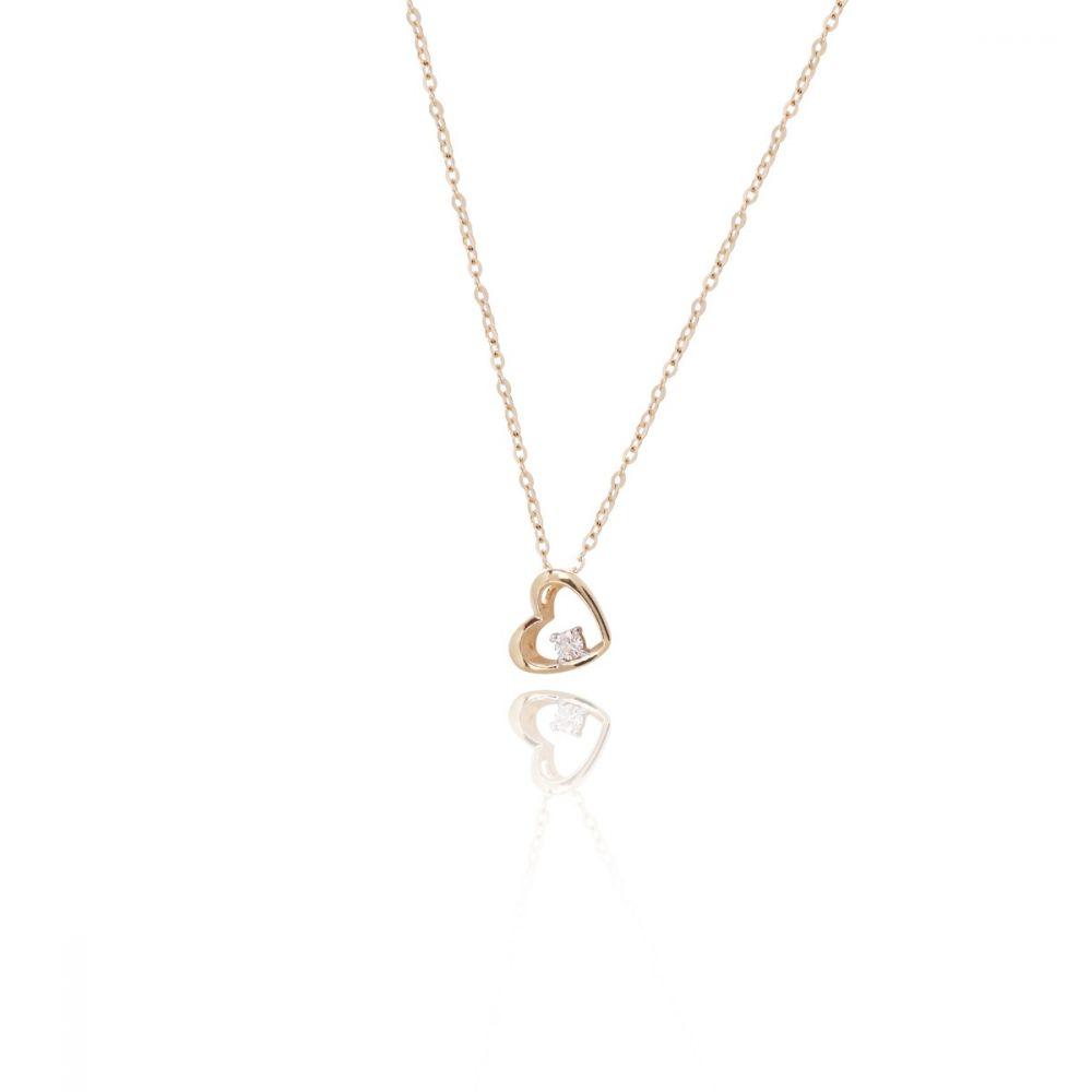 Gargantilla Oro ley 9k y diamante corazón