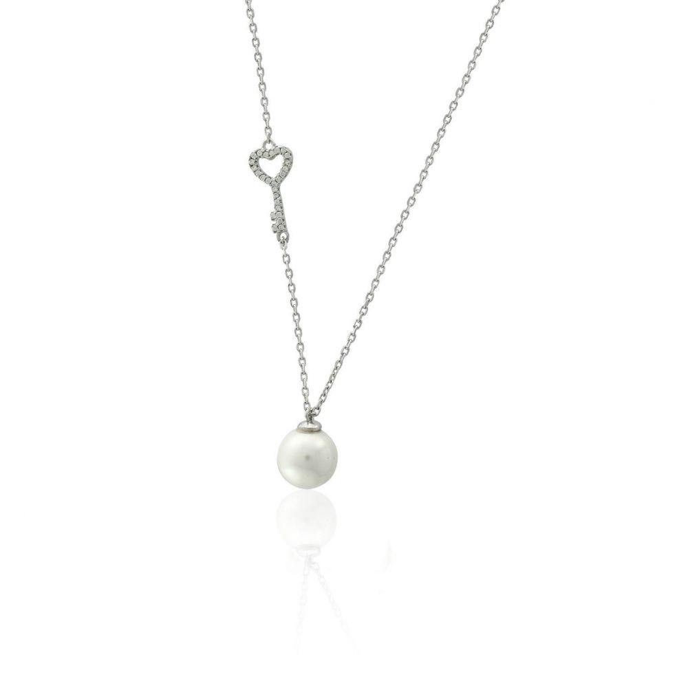 Gargantilla plata y perla llave
