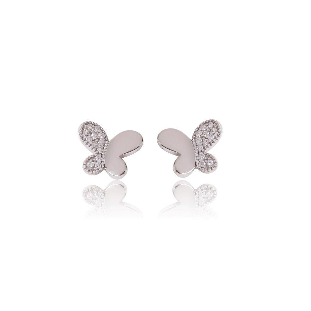 Pendientes Oro 18k mariposa circonitas