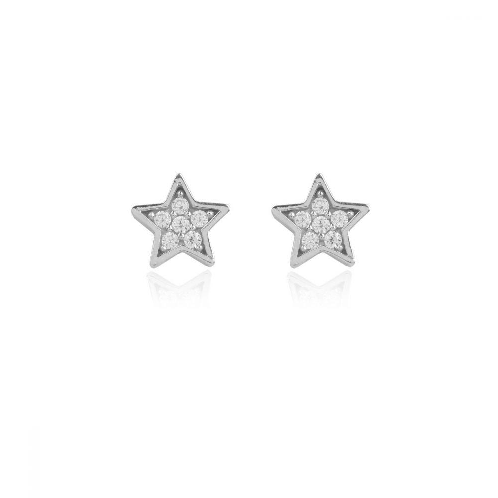 Pendientes estrellas Oro Blanco 18k