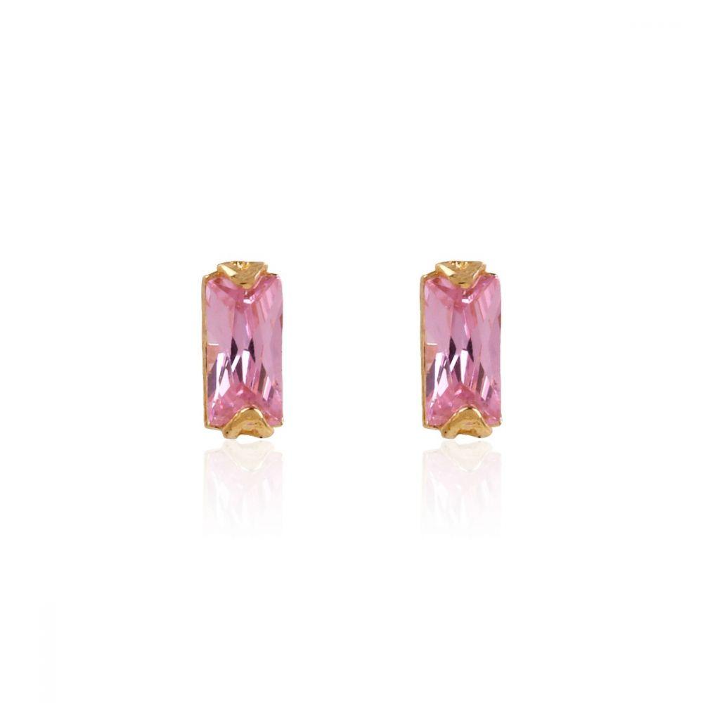 Pendientes Oro 18k circonita rosa