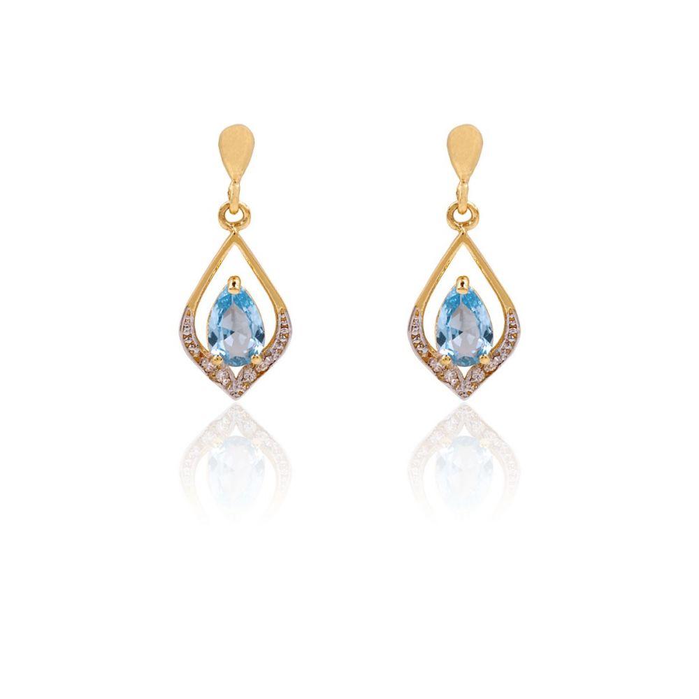 Pendientes Oro 18k Piedras Bicolor Azul