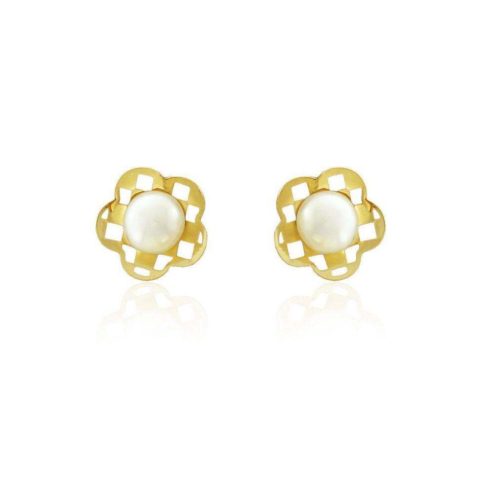 Pendientes niña Oro 18 kts perla flor