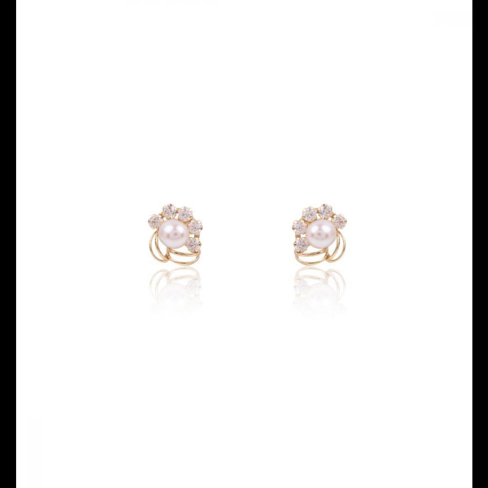Pendientes Perlas Semiflor Oro 18k