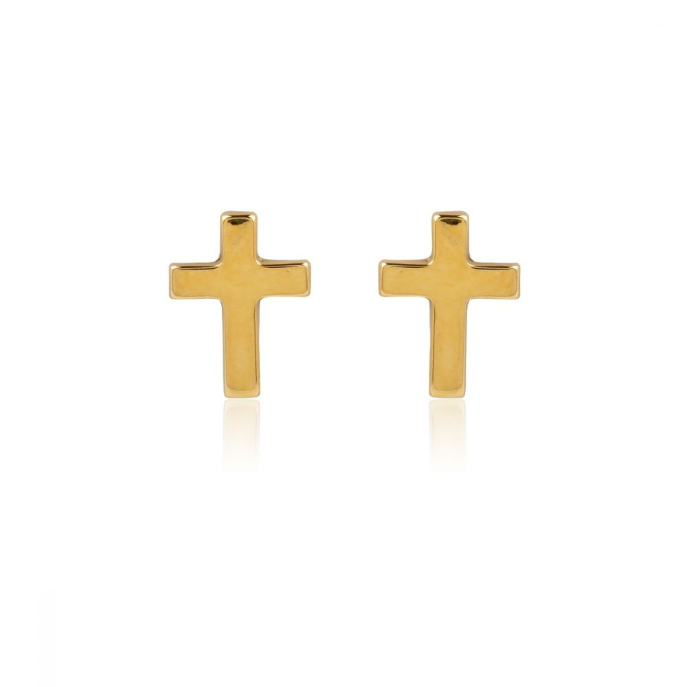 Pendientes Oro 18k Cruz pequeños