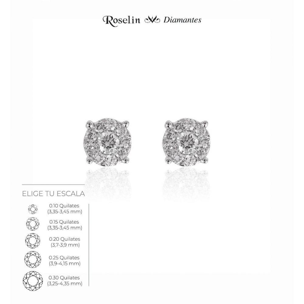 Pendientes Diamantes Oro 18k Redondos. Elige tu escala.