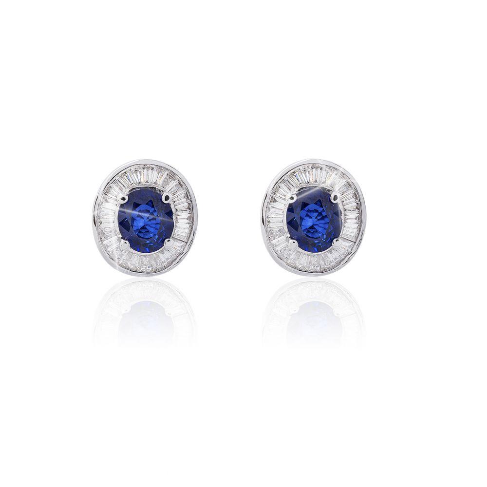 Pendientes Oro blanco 18 kts diamantes y zafiro